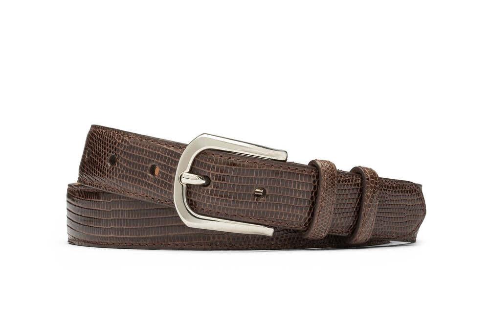 Chocolate Lizard Belt with Round Nickel Buckle