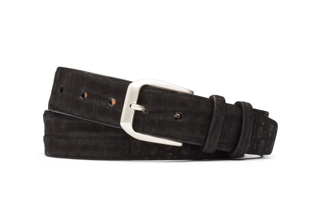 Black Sueded Crocodile Belt with Antique Silver Buckle