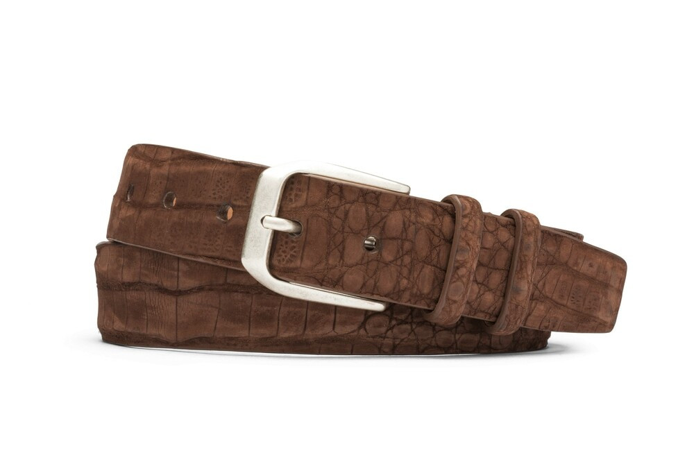 Chocolate Sueded Crocodile Belt with Antique Silver Buckle