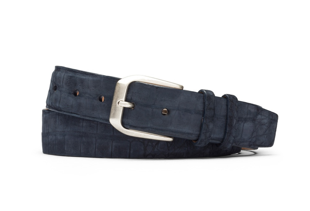 Navy Sueded Crocodile Belt with Antique Silver Buckle