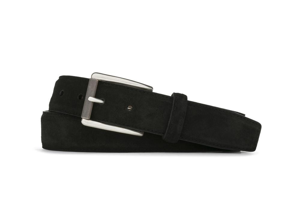 Black Suede Belt with Nickel Roller Buckle
