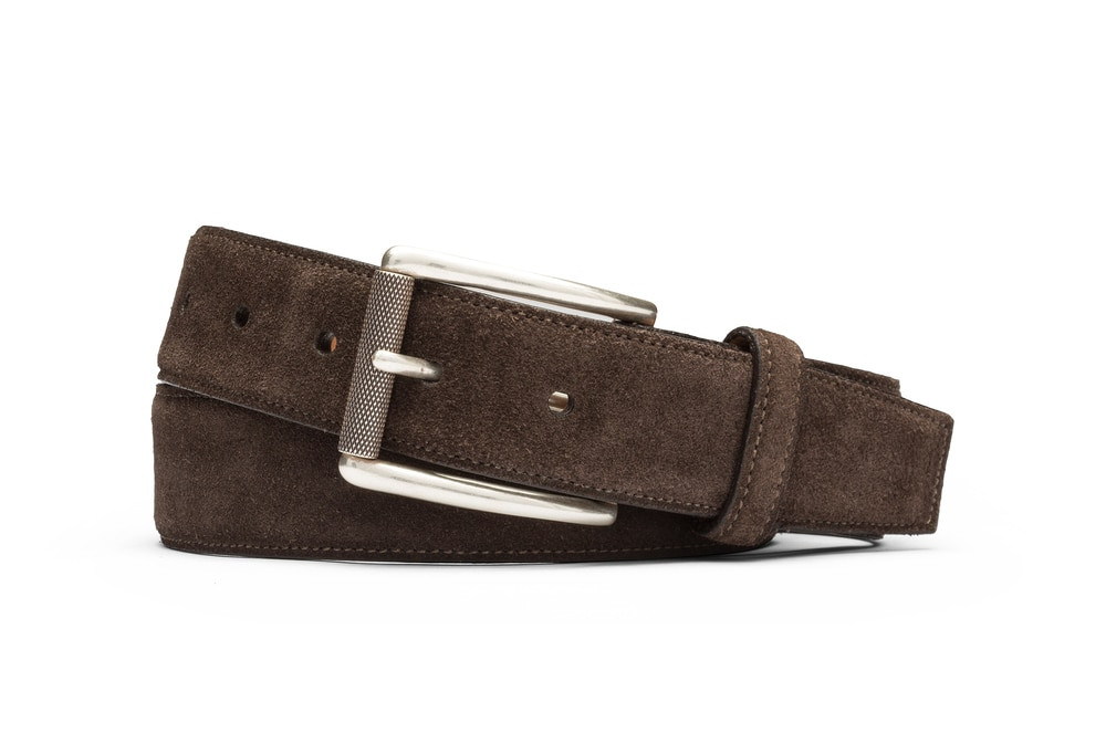 Chocolate Suede Belt with Nickel Roller Buckle
