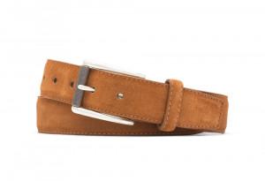 Cognac Suede Belt with Nickel Roller Buckle