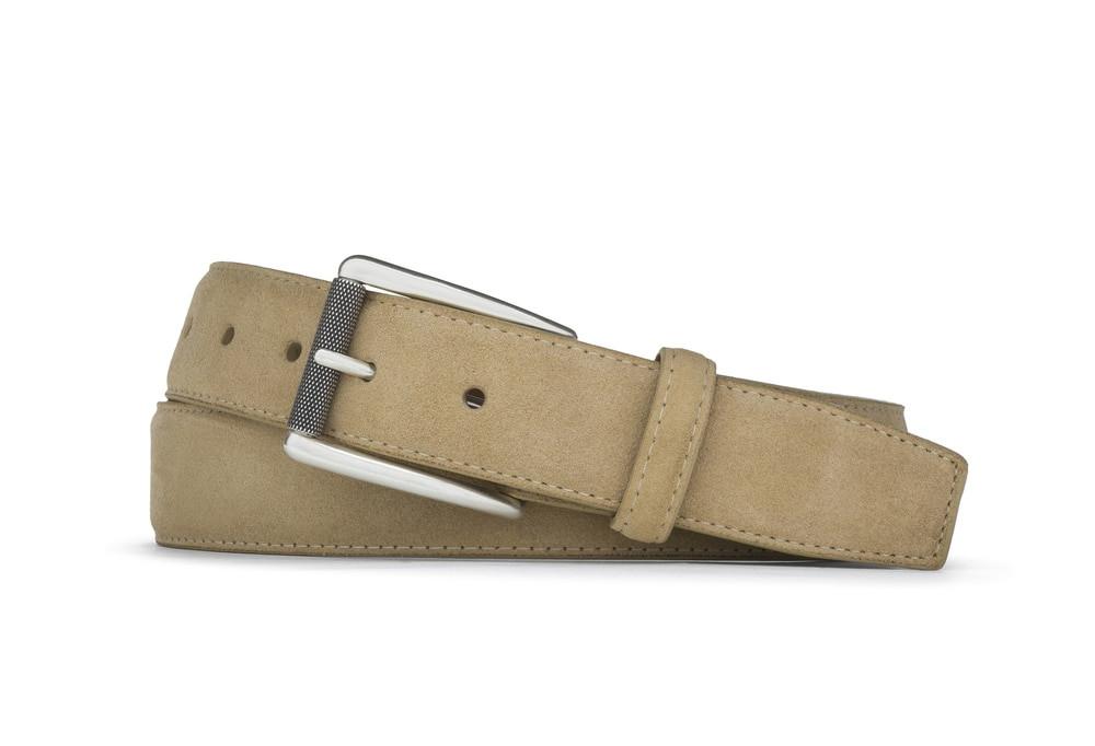 Tan Suede Belt with Nickel Roller Buckle