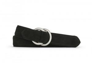 Black Suede Belt with Oring Buckles