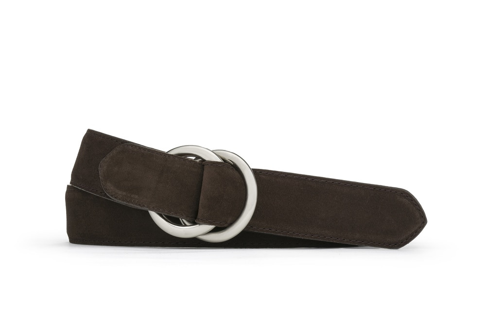 Chocolate Suede Belt with Oring Buckles