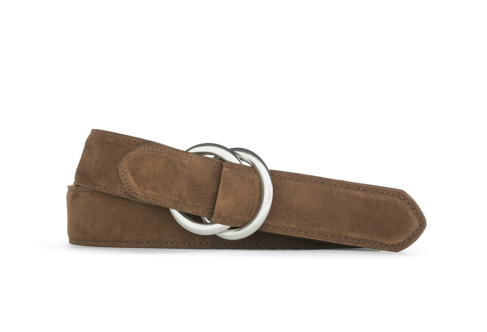 Whiskey Suede Belt with Oring Buckles