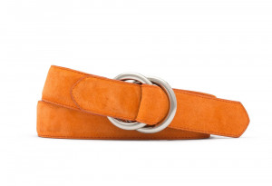 Orange Suede Belt with Oring Buckles