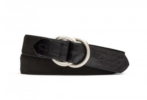 Black Suede and Caiman Crocodile Belt with Oring Buckles