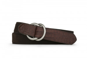Chocolate Suede and Caiman Crocodile Belt with Oring Buckles