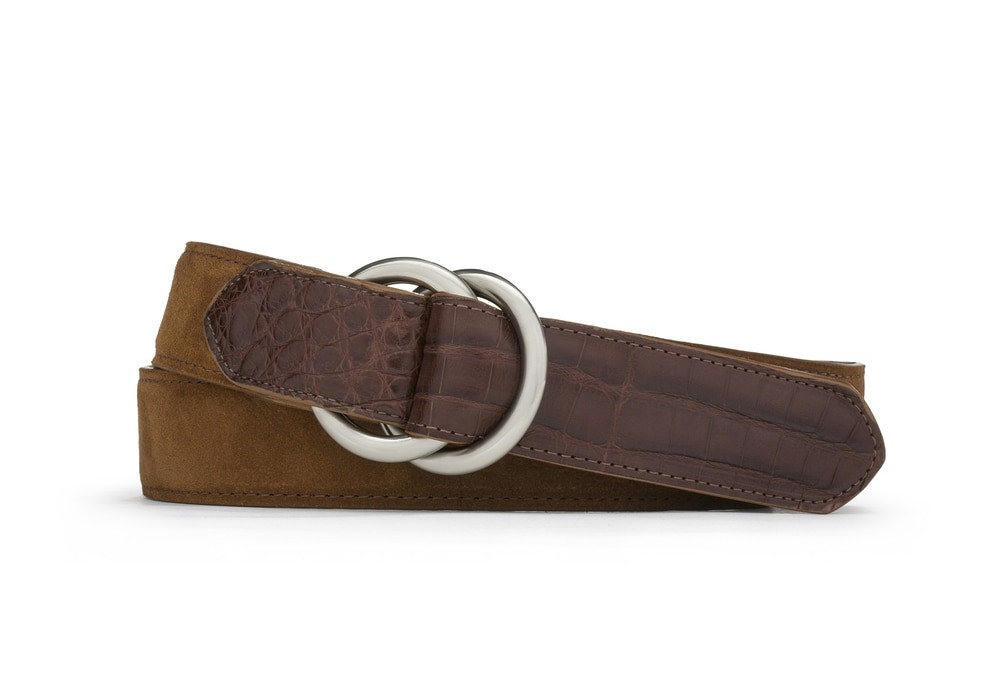 Cognac Suede and Caiman Crocodile Belt with Oring Buckles