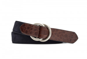 Navy Suede and Caiman Crocodile Belt with Oring Buckles