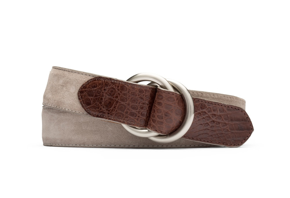 Light Grey Suede and Caiman Crocodile Belt with Oring Buckles