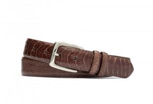 Chocolate Ostrich Leg Belt with Nickel Buckle