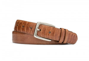 Cognac Ostrich Leg Belt with Nickel Buckle