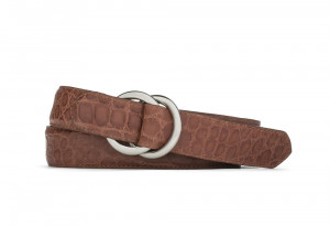 Cognac Matte Alligator Belt with Oring Buckles