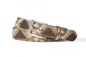 Matte Multi Grey Python Belt with Brushed Nickel Buckle