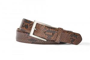 Glazed Cognac Diamond Python Belt with Brushed Nickel Buckle