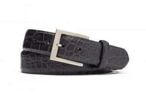 Black Matte American Alligator Belt with Brushed Nickel Buckle