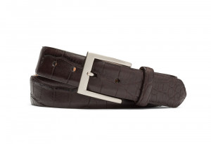 Chocolate Matte American Alligator Belt with Brushed Nickel Buckle