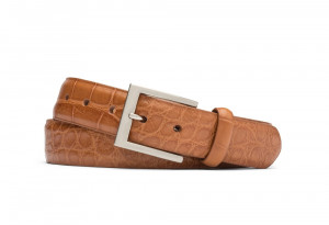 Almond Matte American Alligator Belt with Brushed Nickel Buckle