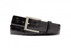 Black Glazed American Alligator Belt with Nickel Buckle