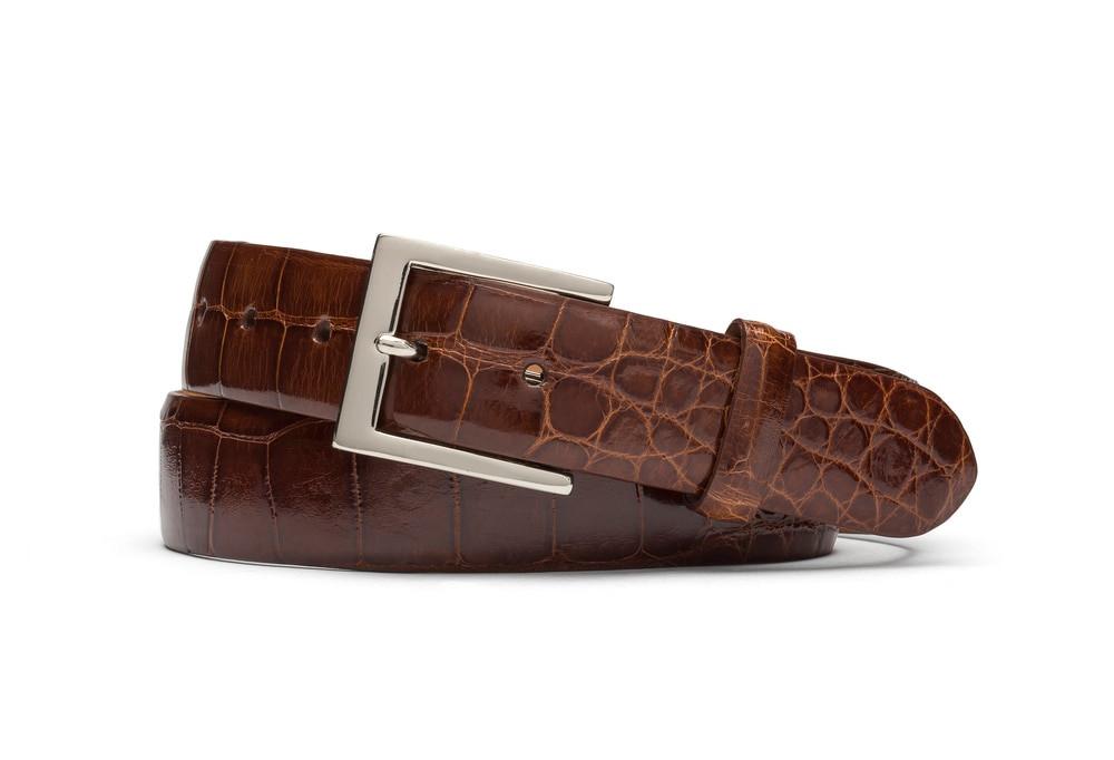 Cognac Glazed American Alligator Belt with Nickel Buckle