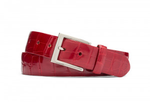 Red Glazed American Alligator Belt with Nickel Buckle