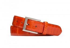 Orange Glazed American Alligator Belt with Nickel Buckle