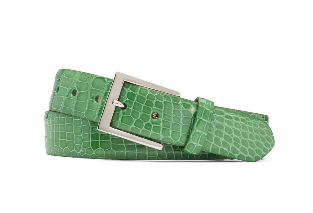 Grass Green Glazed American Alligator Belt with Nickel Buckle