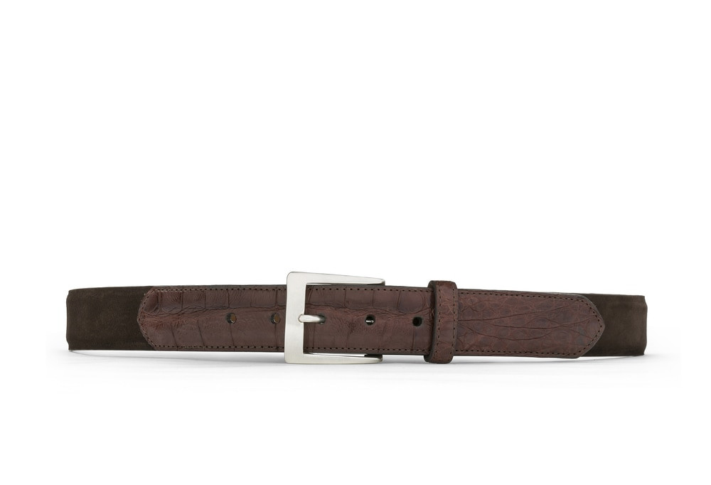 Chocolate Suede and Caiman Crocodile Belt with Nickel Buckle