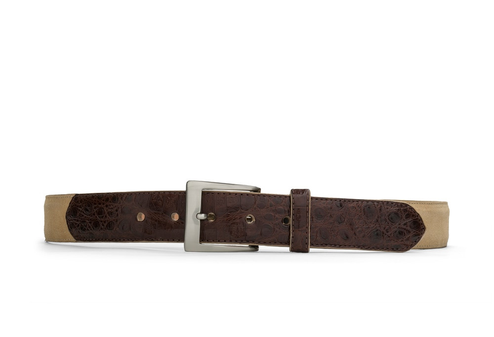 Tan Suede and Caiman Crocodile Belt with Nickel Buckle