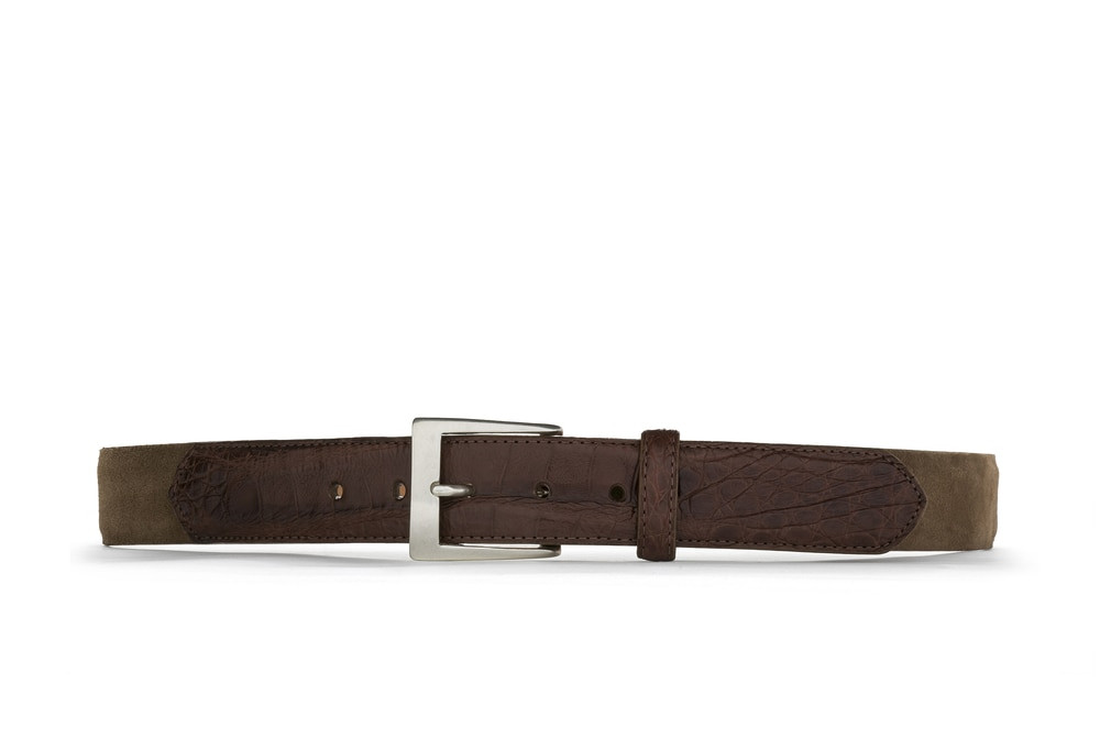 Whiskey Suede and Caiman Crocodile Belt with Nickel Buckle