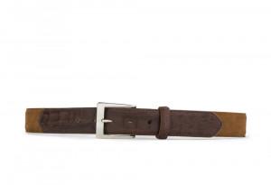 Cognac Suede and Caiman Crocodile Belt with Nickel Buckle