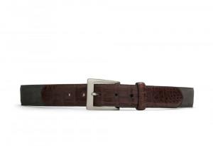 Slate Suede and Caiman Crocodile Belt with Nickel Buckle