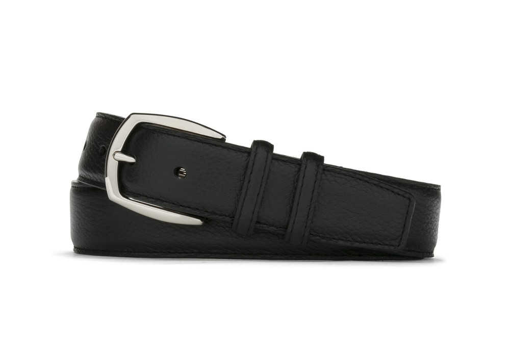 Black Pebbled Calf Belt with Nickel Buckle