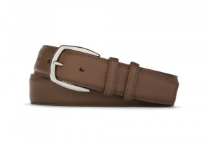 Cocoa Pebbled Calf Belt with Nickel Buckle