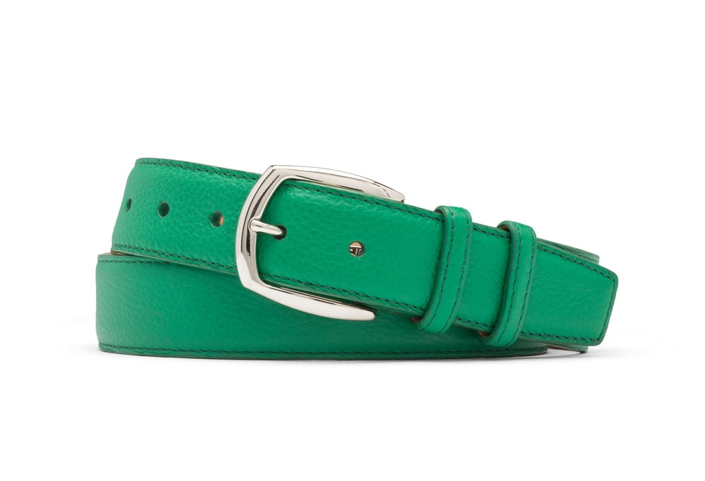 Emerald Pebbled Calf Belt with Nickel Buckle