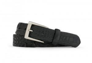 Black Hornback Alligator Belt with Brushed Nickel Buckle