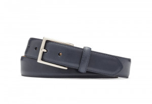 Navy Glazed Calf Belt with Nickel Buckle