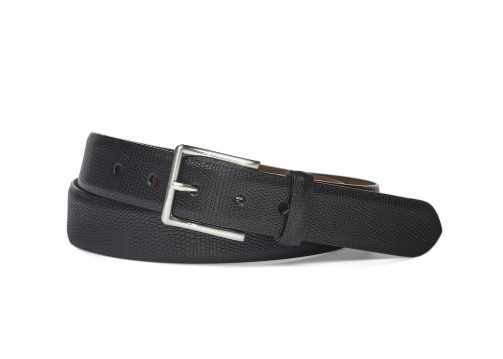 Black Matte Textured Calf Belt with Brushed Nickel Buckle