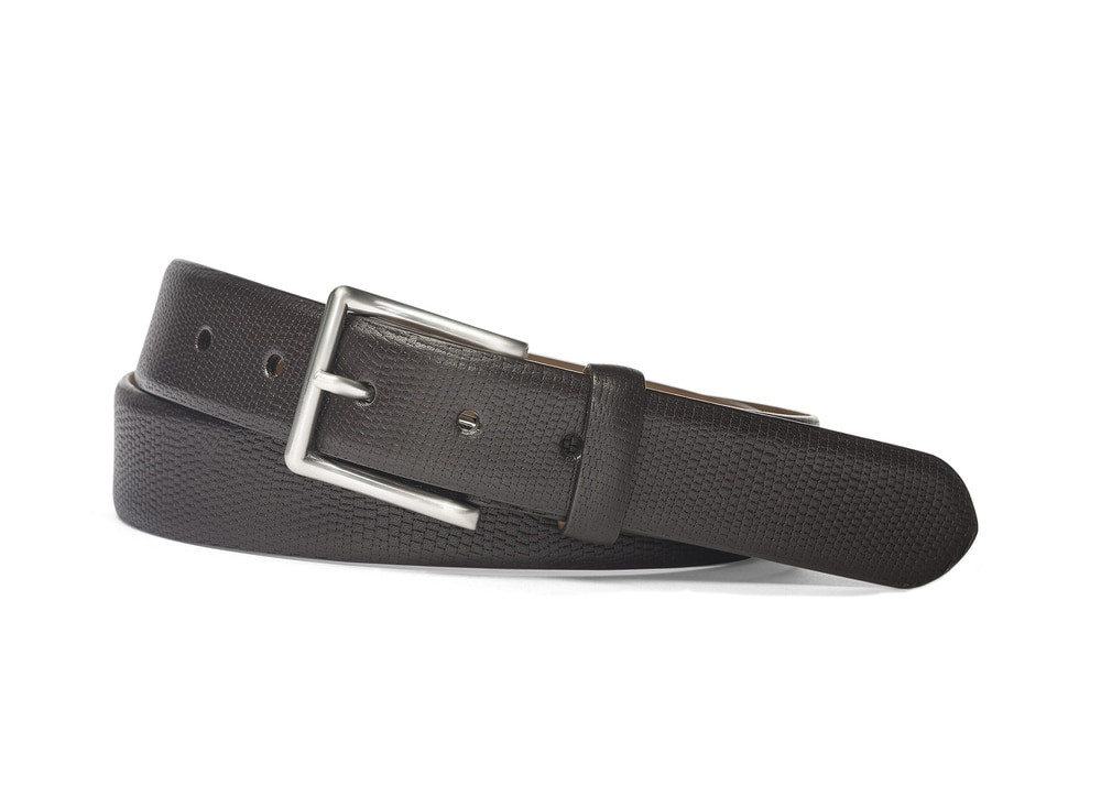 Chocolate Matte Textured Calf Belt with Brushed Nickel Buckle