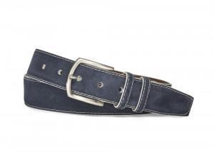 Navy White Detail Suede Belt with Nickel Buckle