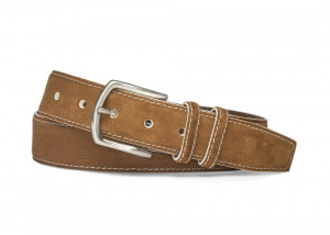 Cognac White Detail Suede Belt with Nickel Buckle
