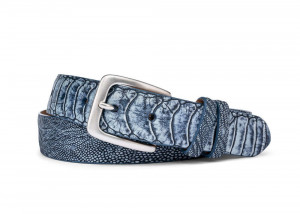 Navy Washed Ostrich Leg Belt with Brushed Nickel Buckle
