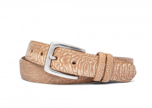 Kango-Tobac Washed Ostrich Leg Belt with Brushed Nickel Buckle