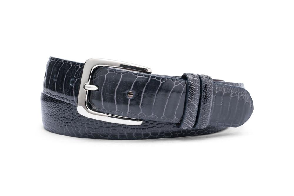 Navy Ostrich Leg Belt with Nickel Buckle