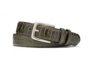 Cyprus Green Ostrich Leg Belt with Nickel Buckle