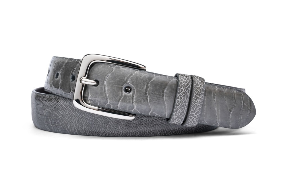 Grey Ostrich Leg Belt with Nickel Buckle