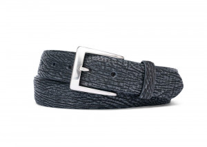 Safari Black Buffed Shark Belt with Brushed Nickel Buckle